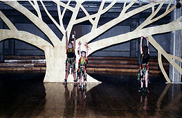 Young dancers in front of the Vigil's Tree which spread across the basement